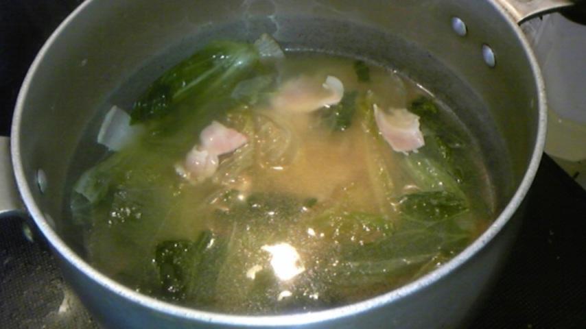 ベーコンとレタスのスープ@今日のお料理ナビ